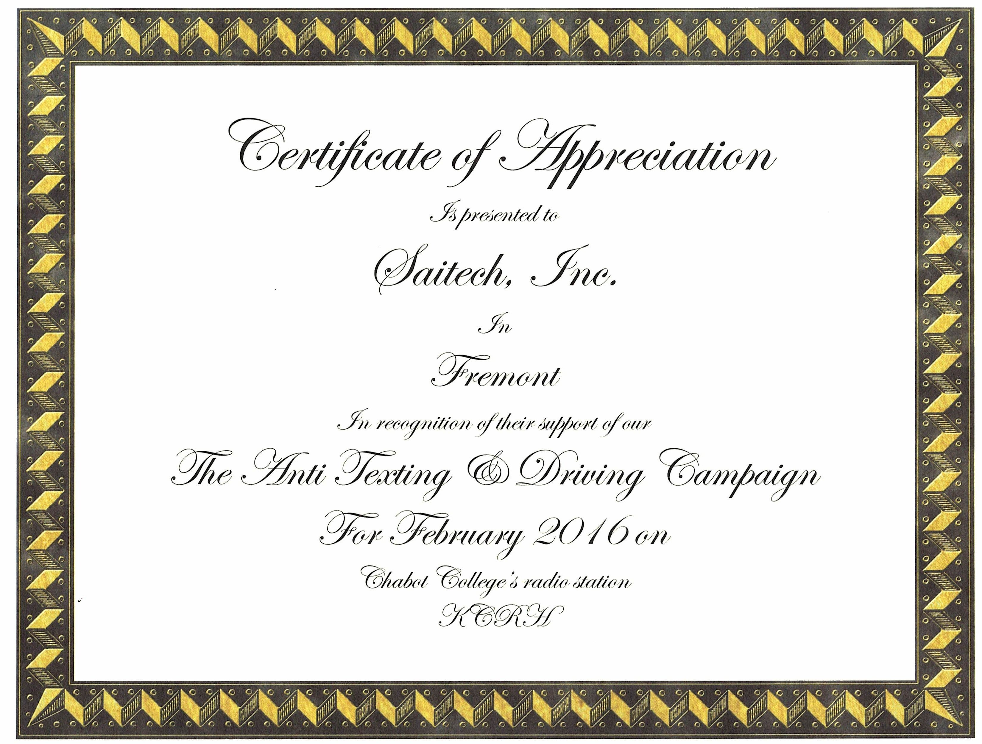 Certificate of appreciation awarded for support against texting anti texting yelopaper Images