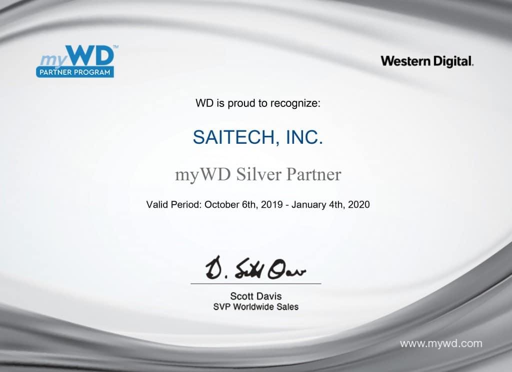 Western Digital Saitech Silver Partner Cert 2019-2020